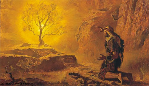 Moses experiences God through a burning bush